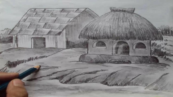 straw hut, how to draw a face, black and white, pencil sketch