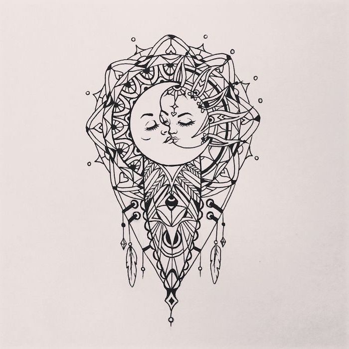 sun and moon kissing, black and white drawing, mandala wrist tattoo, white background