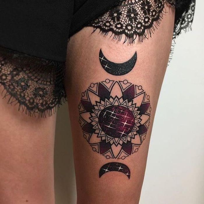 moon and sun, thigh tattoo, black lace shorts, mandala wrist tattoo, white background
