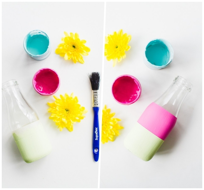 blue and pink paint, yellow flowers, glass bottles, dining room centerpieces, white background, diy tutorial