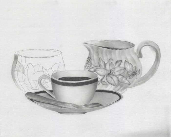 tea cup, sugar bowl, pencil sketch, in black and white, how to draw a face