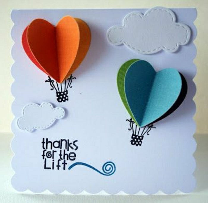 orange and red, blue and green, hot air balloons, heart shaped, card making ideas, thanks for the lift