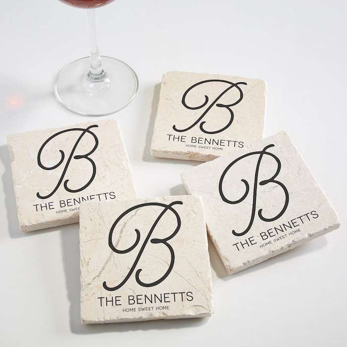 personalised coasters, the bennetts, housewarming ideas, wine glass, white countertop
