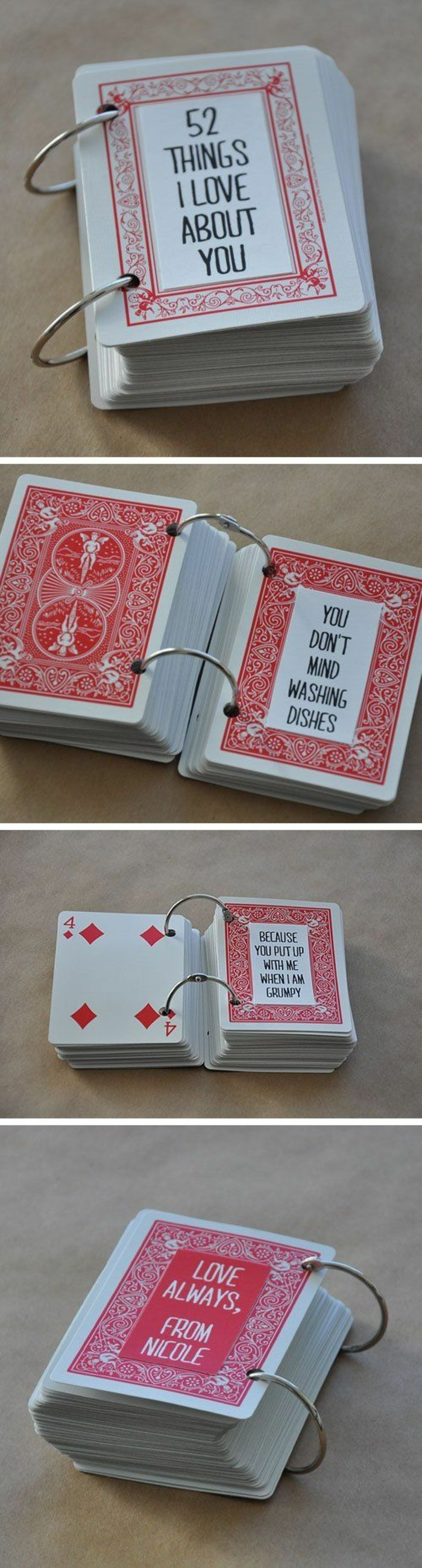 things i love about you, deck of cards, crafty christmas gifts, diy tutorial, side by side pictures
