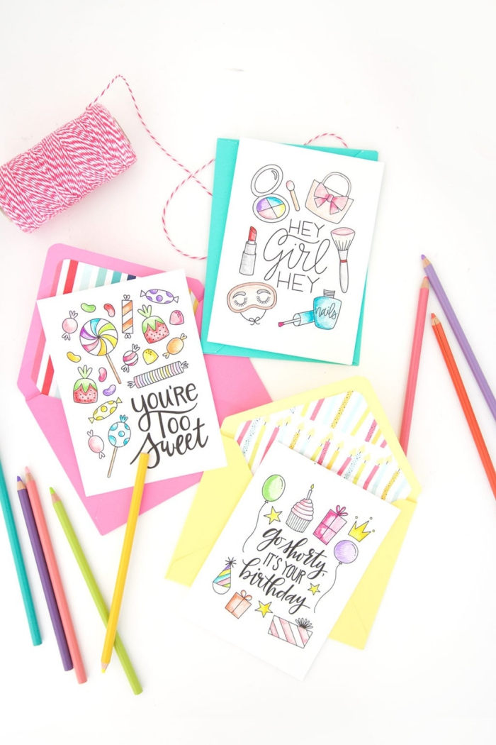turquoise pink and yellow envelopes, handmade cards, colourful greeting cards, colourful pencils