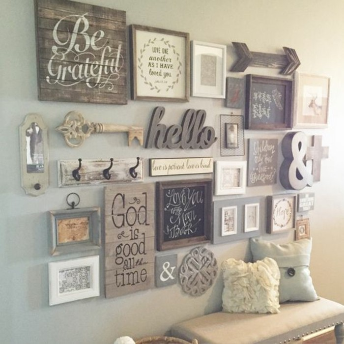 rustic style, wooden frames, inspirational quotes, how to decorate a wall, arranged together on a grey wall