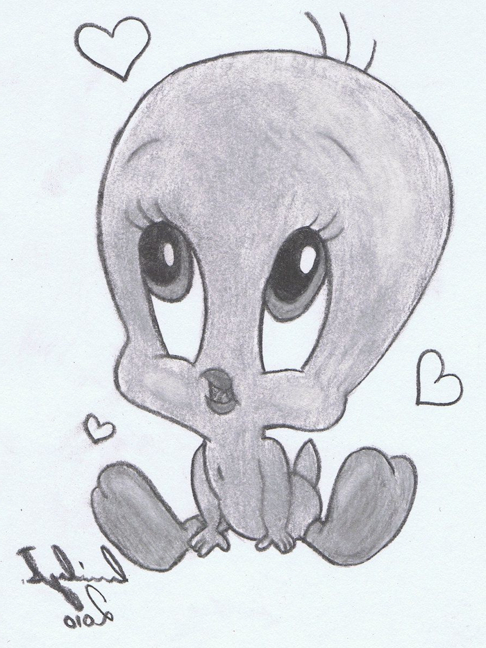tweety inspired, black and white, pencil sketch, how to draw step by step for beginners