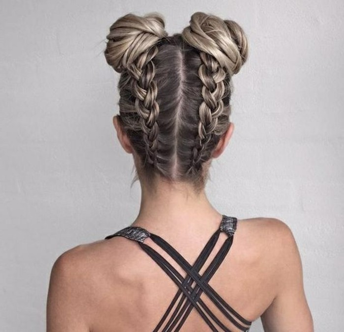 brown hair, with highlights, in two braids, messy buns, half up half down prom hair, grey straps