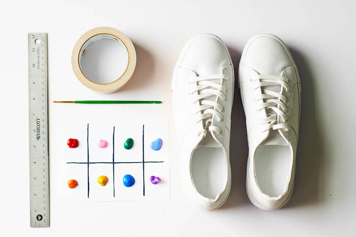 white sneakers, step by step, diy tutorial, thoughtful gifts, different coloured, acrylic paint