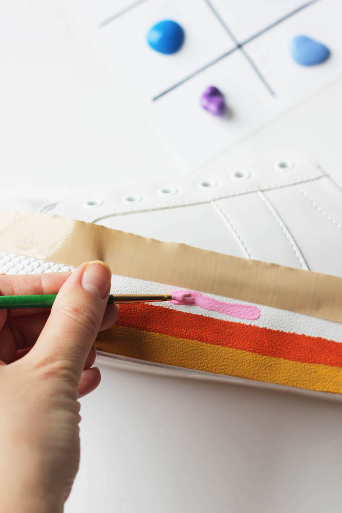 red orange and pink, acrylic paint, white sneakers, thoughtful gifts, step by step, diy tutorial