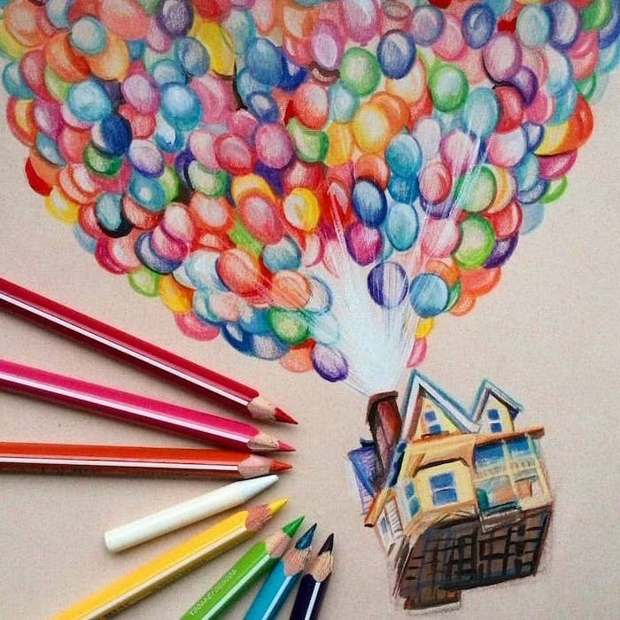up movie inspired, coloured pencils sketch, easy drawings step by step, many colourful balloons