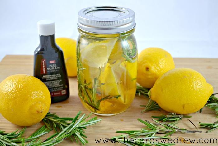 lemons in water, rosemary branches, inside a mason jar, best housewarming gifts, diy air freshener