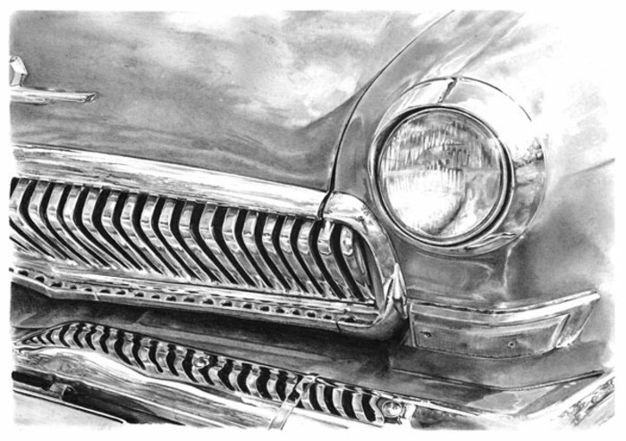 vintage car, front headlight, step by step drawing, black and white, pencil sketch