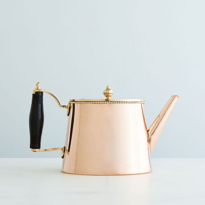 vintage copper, tea pot, house warming present, white background