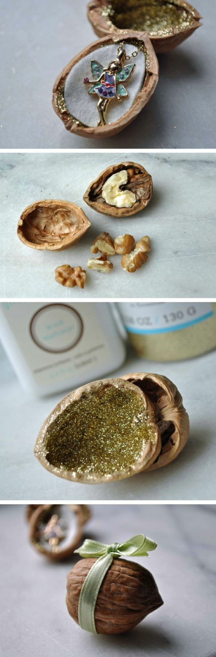 walnut shells, fairy necklace inside, crafty christmas gifts, gold glitter paint, step by step, diy tutorial