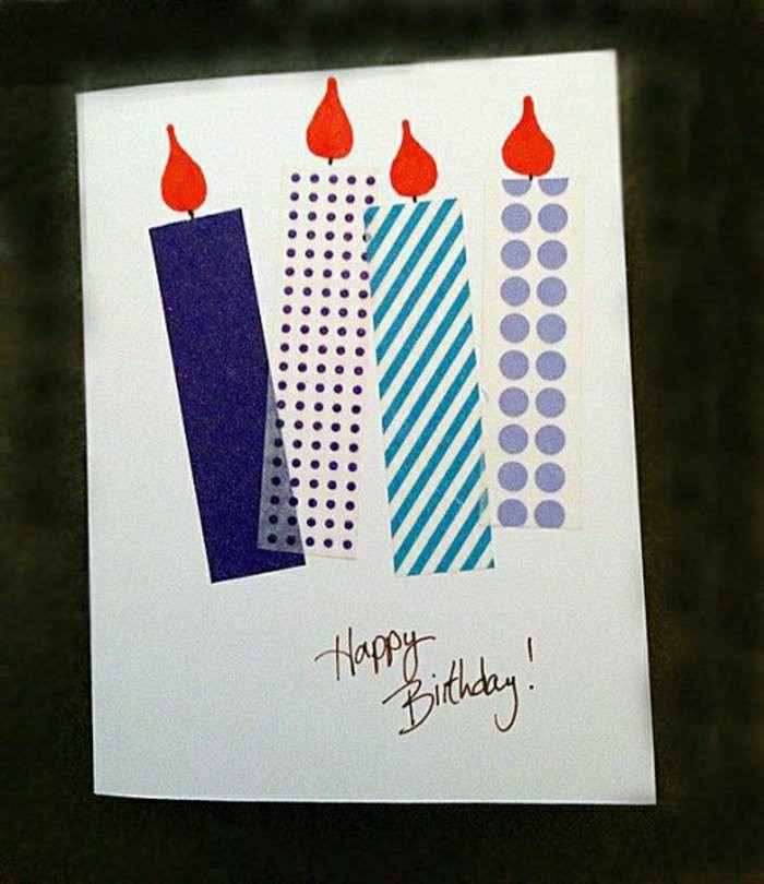 funny bday cards, colourful candles, made out of washi tape, on white card stock, black background