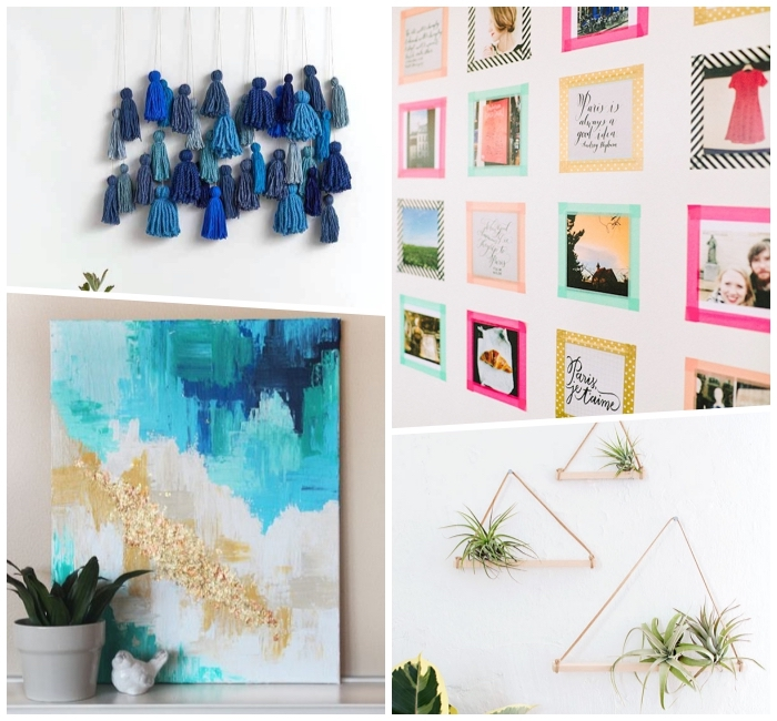 living room wall ideas, side by side photos, macrame and photos, wall art, diy tutorials
