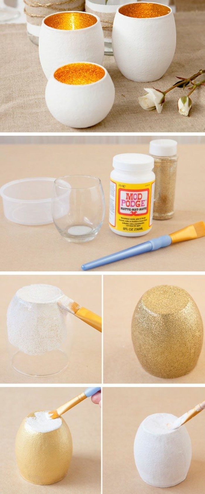 glass vase, painted with gold glitter and white, crafty christmas gifts, diy tutorial, candle holders