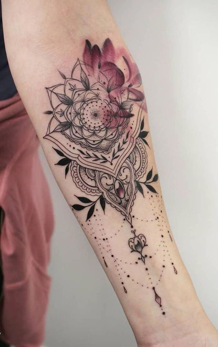 watercolour forearm tattoo, mandala wrist tattoo, white background