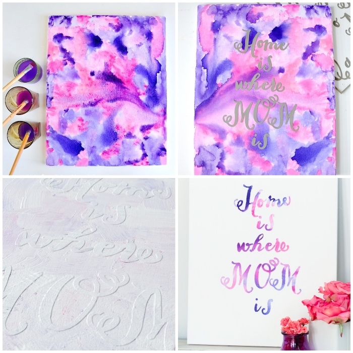 watercolour painting, pink and purple paint, large wall decor ideas, home is where mom is