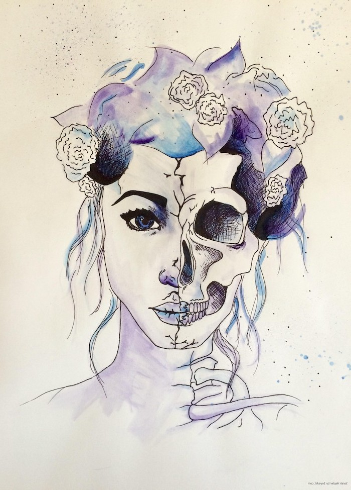 split art, half woman, half skull, watercolour painting, how to draw step by step for beginners, pencil outline