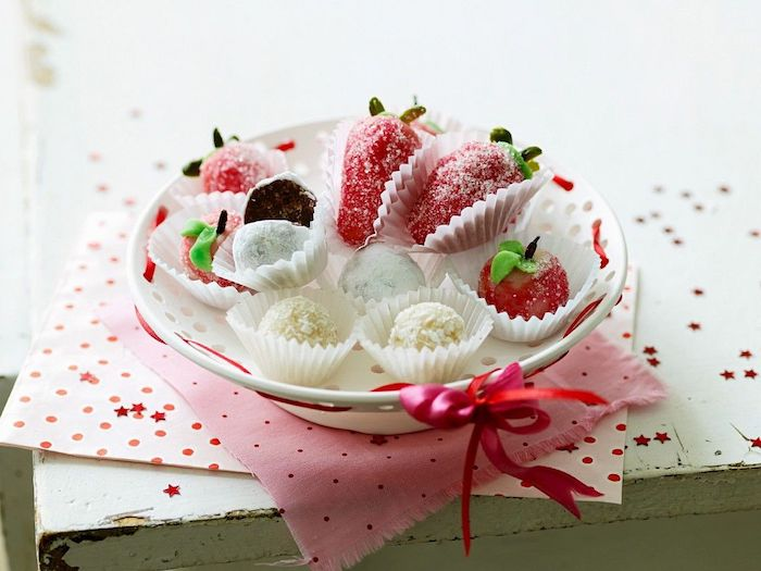 homemade sweets, white bowl, pink ribbon, house warming present