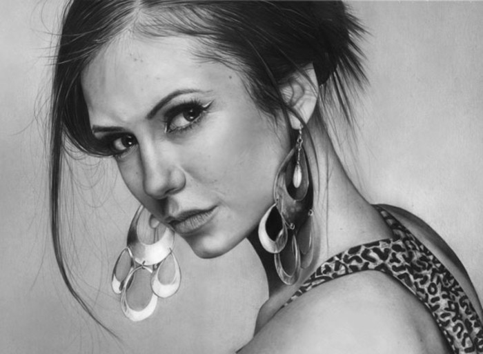 black and white, pencil sketch, step by step drawing, nina dobrev portrait