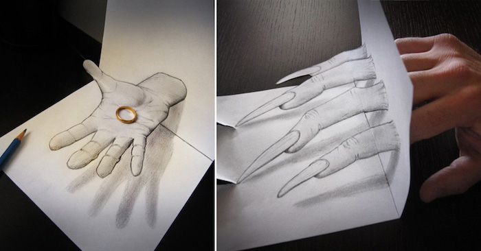side by side photos, of hands, 3d art, cool easy drawings, black and white, pencil sketches