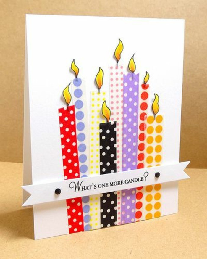 what's one more candle, funny bday cards, colourful candles, made out of washi tape, white card stock