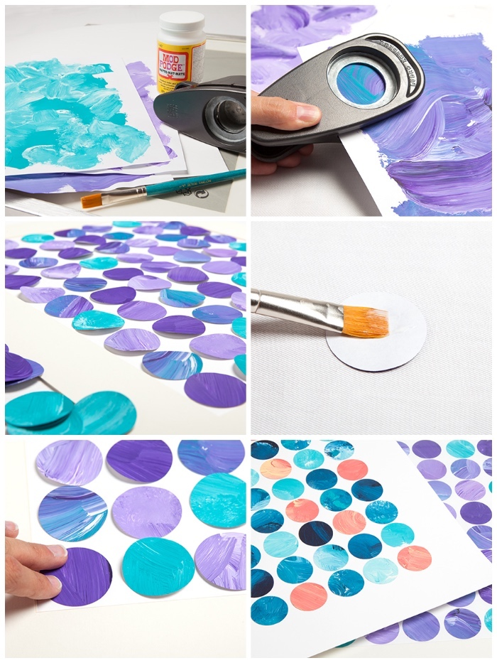 large wall decor ideas, blue and purple circles, large wall decor ideas, step by step, diy tutorial