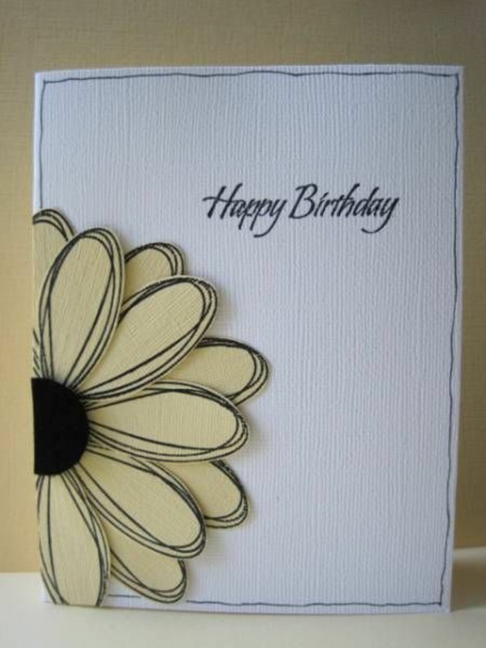 white card stock, yellow sun flower, made of paper, funny bday cards, yellow background