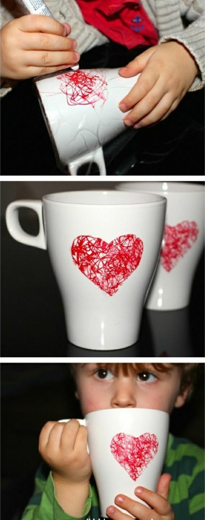 creative homemade gifts, white coffee mug, red heart, kid drawing on the mug, diy tutorial