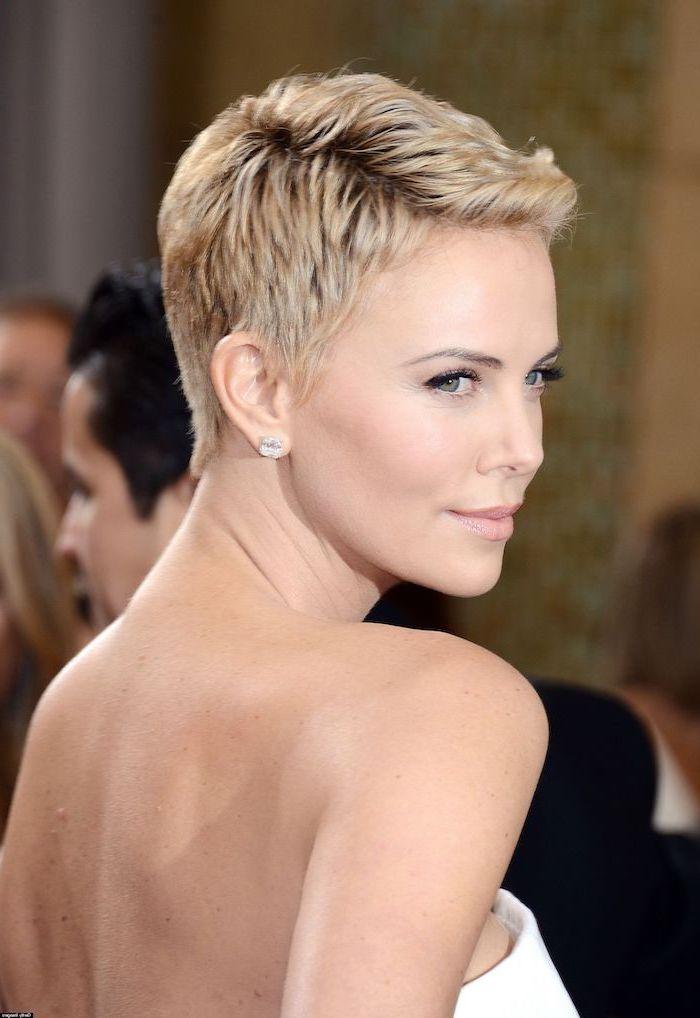 short length hairstyles, blonde hair, white dress, charlize theron, pixie cut, diamond earrings