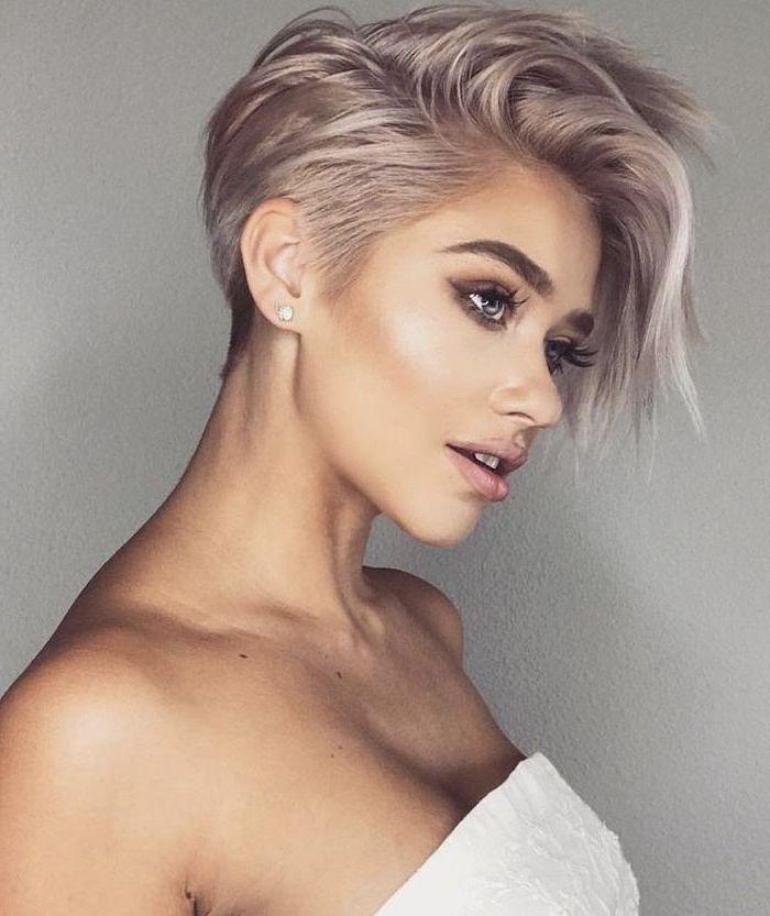 white dress, light pink hair, short length hairstyles, white background