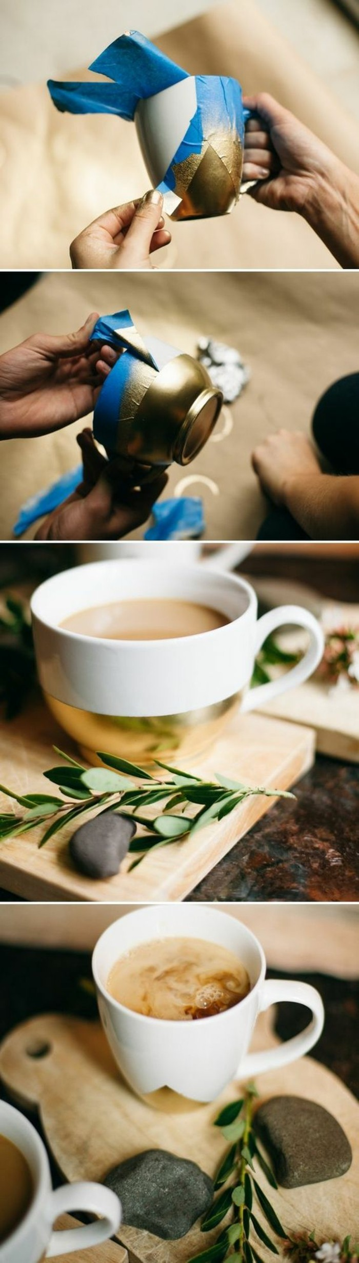 white and gold, coffee mugs, step by step, diy tutorial, creative homemade gifts, wooden board