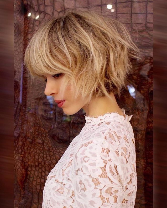 short length hairstyles, white lace dress, blonde hair with bangs, with highlights