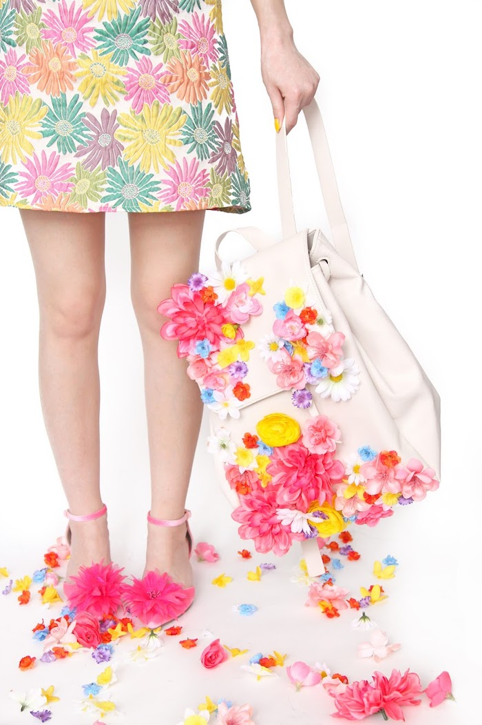 floral dress, white leather backpack, homemade christmas gifts, colourful faux flowers, glued to it