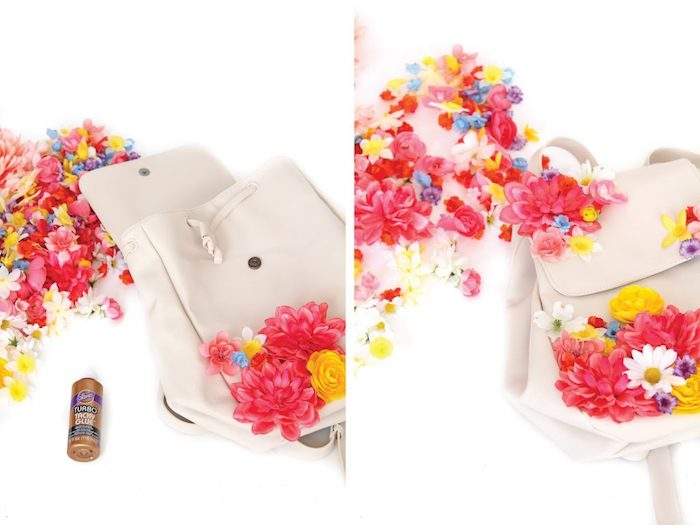 white leather backpack, colourful faux flowers, glued to it, homemade christmas gifts, diy tutorial