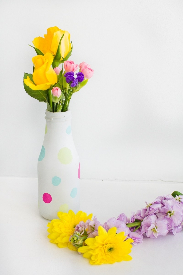 glass bottle jar, painted in white, fall table decorations, flower bouquets, painted colourful dots
