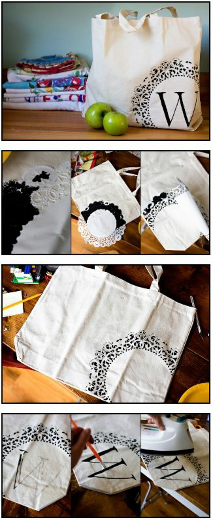 white shopping bag, letter w, black decoration, painted on it, creative homemade gifts, diy tutorial