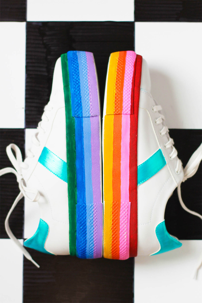white sneakers, rainbow coloured soles, unique gifts for boyfriend, black and white, tiled background