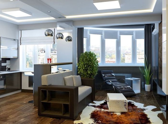 how to arrange furniture, white sofa, black leather chair, white metal coffee table, wooden floor