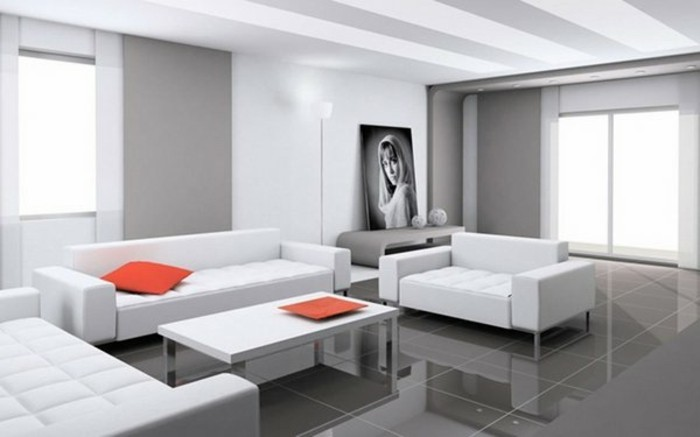 white sofas, white and grey walls, beautiful living rooms, orange throw pillow and tray