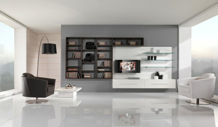 wooden bookshelf, nice living rooms, black and white, leather armchairs, white tiled floor, minimalist design