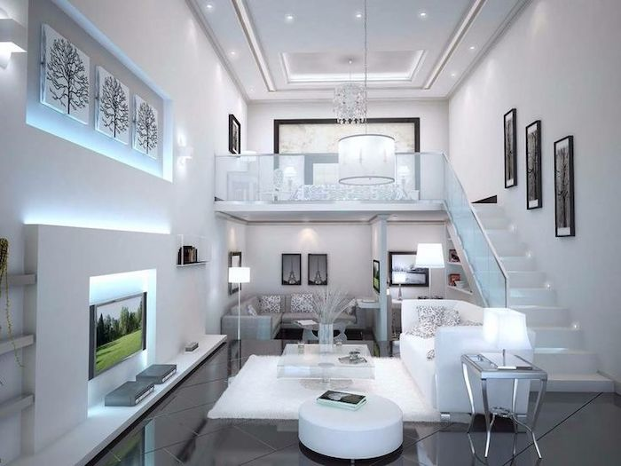 two level studio apartment, how to arrange furniture, white and grey sofas, black tiled floor, white walls