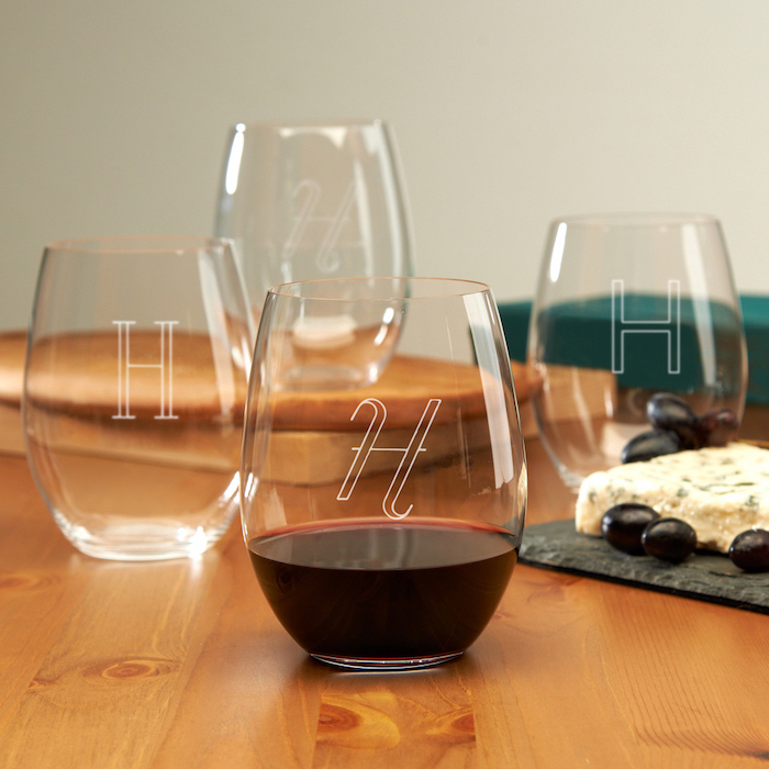 personalised wine glasses, with initials, house warming present, wooden table, cheese board