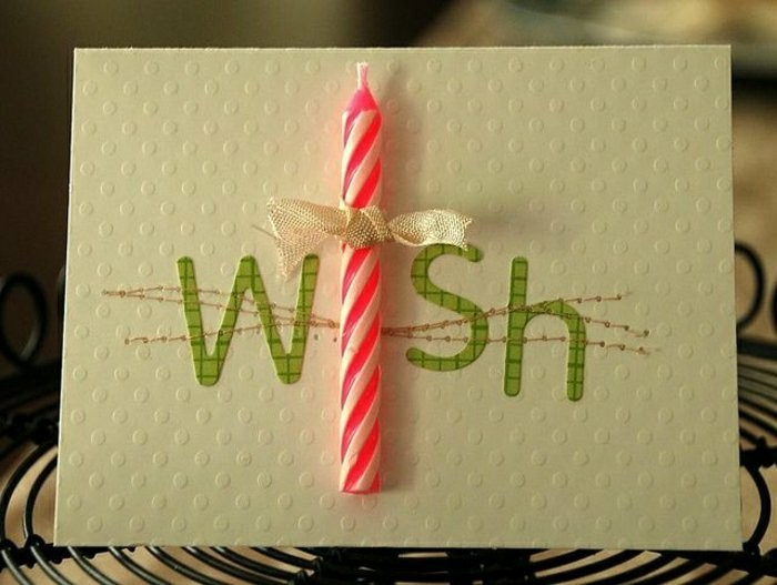 pink candle, wish inscription, white card stock, birthday card ideas for friend, green letters