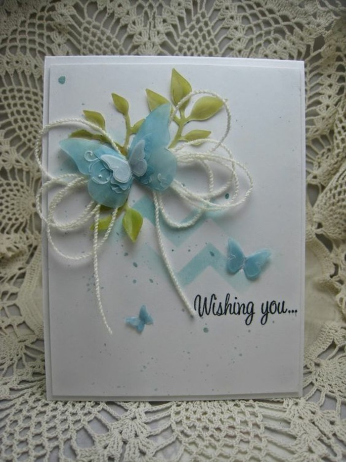 blue butterflies, green leaves, on white card stock, birthday card ideas for friend