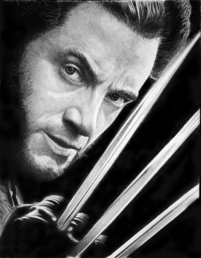 wolverine portrait, black and white, pencil sketch, step by step drawing, black backgorund