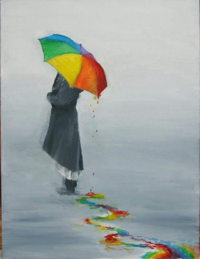 woman standing, with a colourful umbrella, long black coat, fun and easy things to draw, things to draw when bored step by step